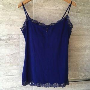 Aerie cobalt blue cami with shelf bra & lace